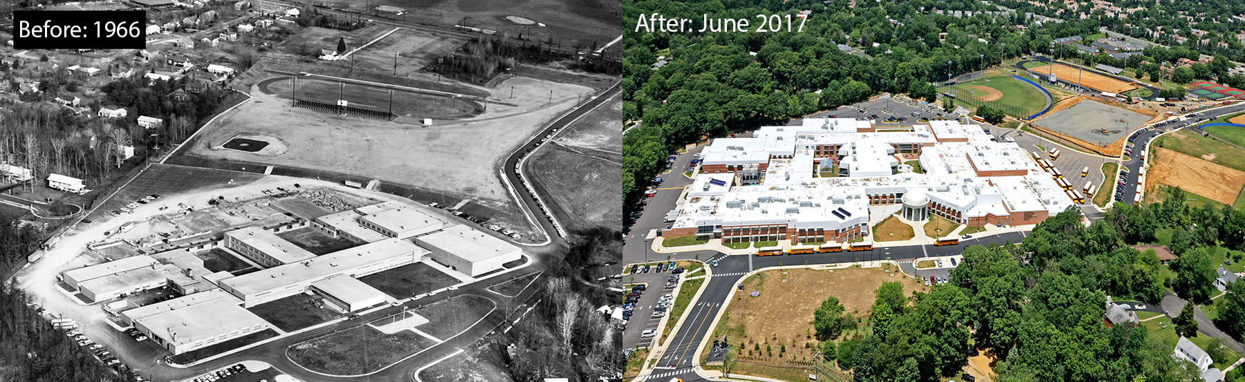 areal photo of TJ in 1966 on the left and in 2017 on the right