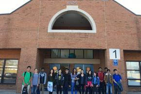 photo of students in front of Holmes Middle School