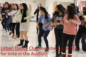 Urban Dance Club members practice for Inite in the Audlob!