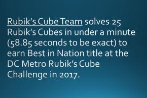 Rubik's Cube Team solves 25 Rubik's Cubes in under a minute (58.85 seconds to be exact) to earn Best in Nation title at the DC Metro Rubik's Cube Challenge in 2017.
